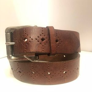 Fossil laser cut brown leather belt  size M